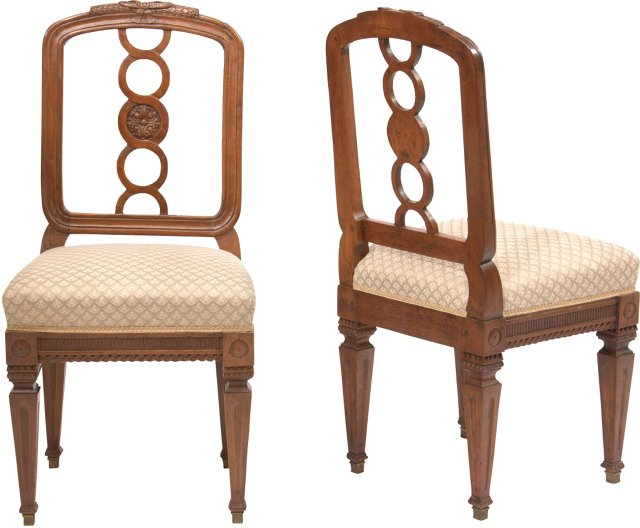 Italian Chairs w/ Fortuny Fabric, Pair