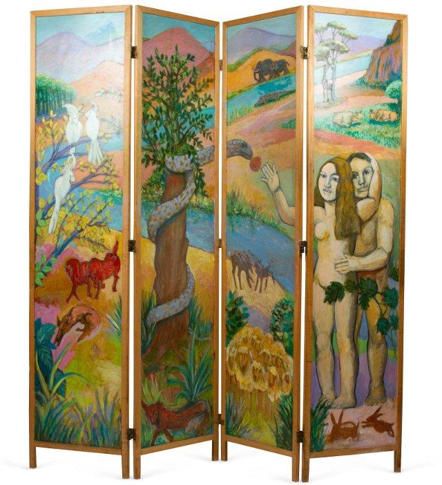 Bloomsbury Inspired 4-Panel Screen