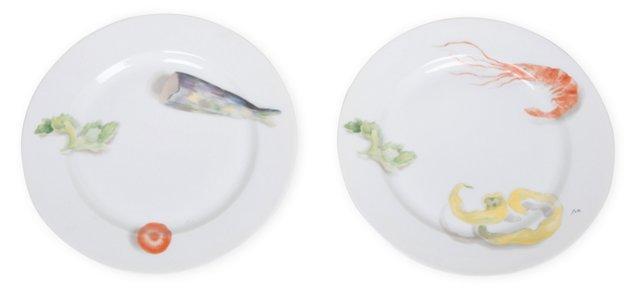 French Porcelain Salad Plates, Set of 2