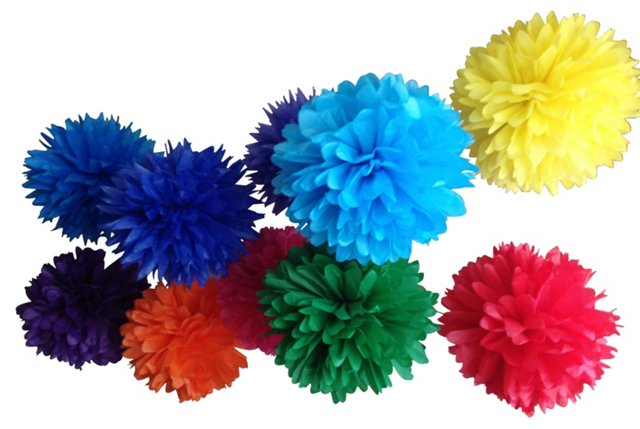 "Set of ""Rainbow Bright"" Poms"