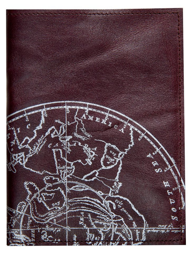 Leather Globe Passport Case, Burgundy
