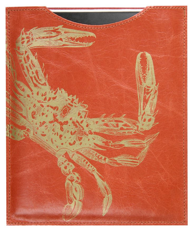Leather Crab iPad  Sleeve, Orange
