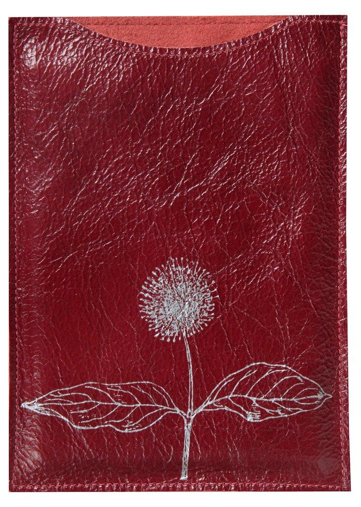 Leather Dandelion Kindle Sleeve, Red