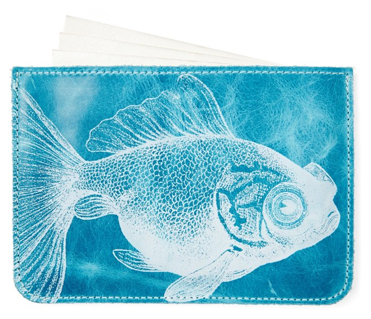 S/10 Cards in Fish Case, Turquoise