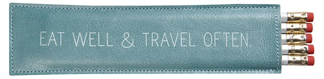 Leather Quoted Pencil Case, Blue