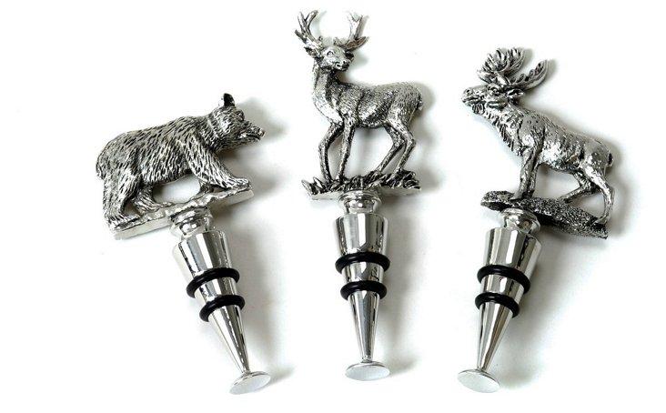 Asst of 3 Animal Bottle Stoppers