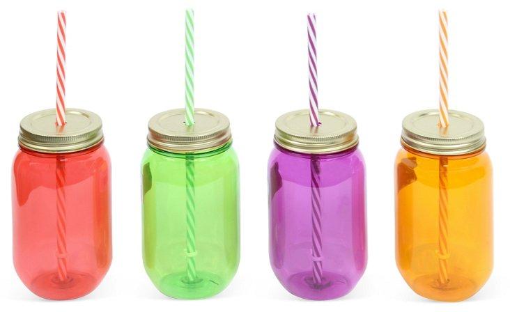 Asst. of 4 Small Plastic Mason Jars