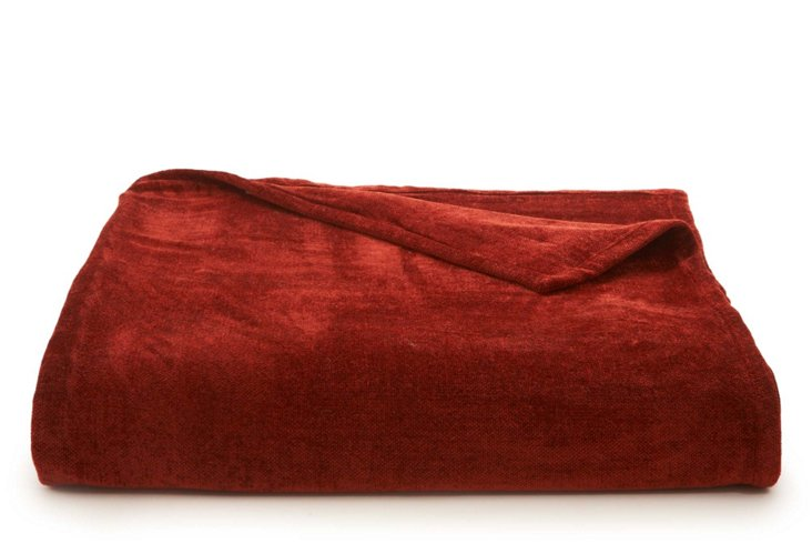 Chenille Throw, Red