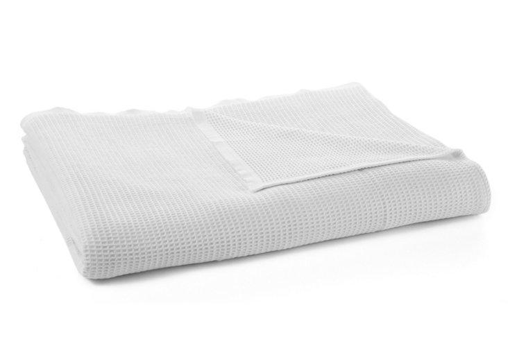Adriatic Sea Waffle Blanket, White