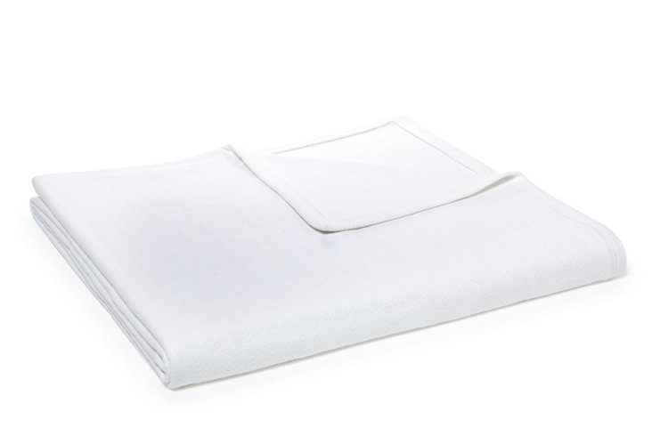 Herringbone Box Blanket, White