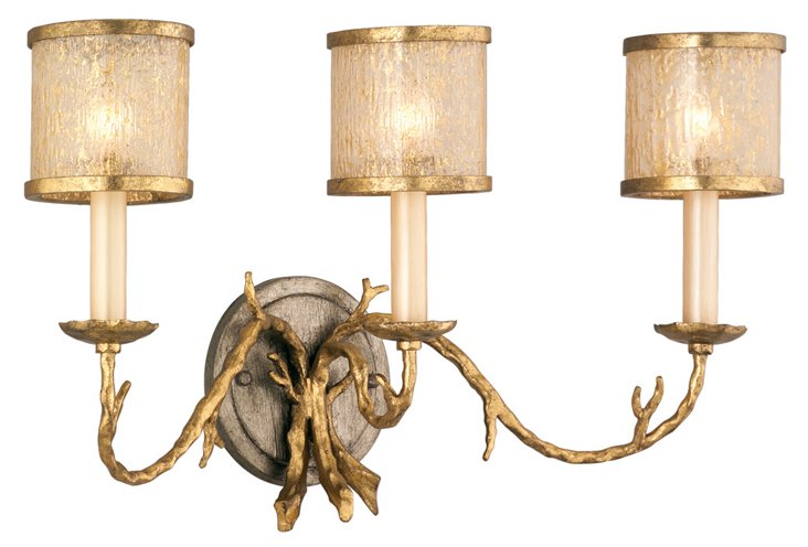 Parc Royale 3-Light Wall Sconce, Gold