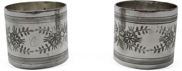 Silverplate Napkin Rings, Pair I