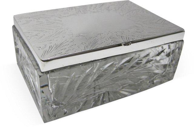 Large Silverplate & Glass Box