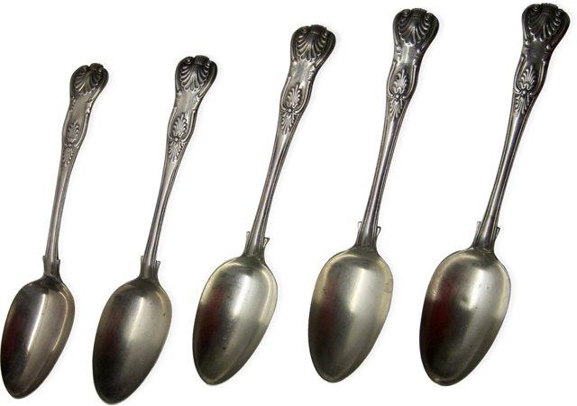 Georgian Sterling Spoons, Set of 5