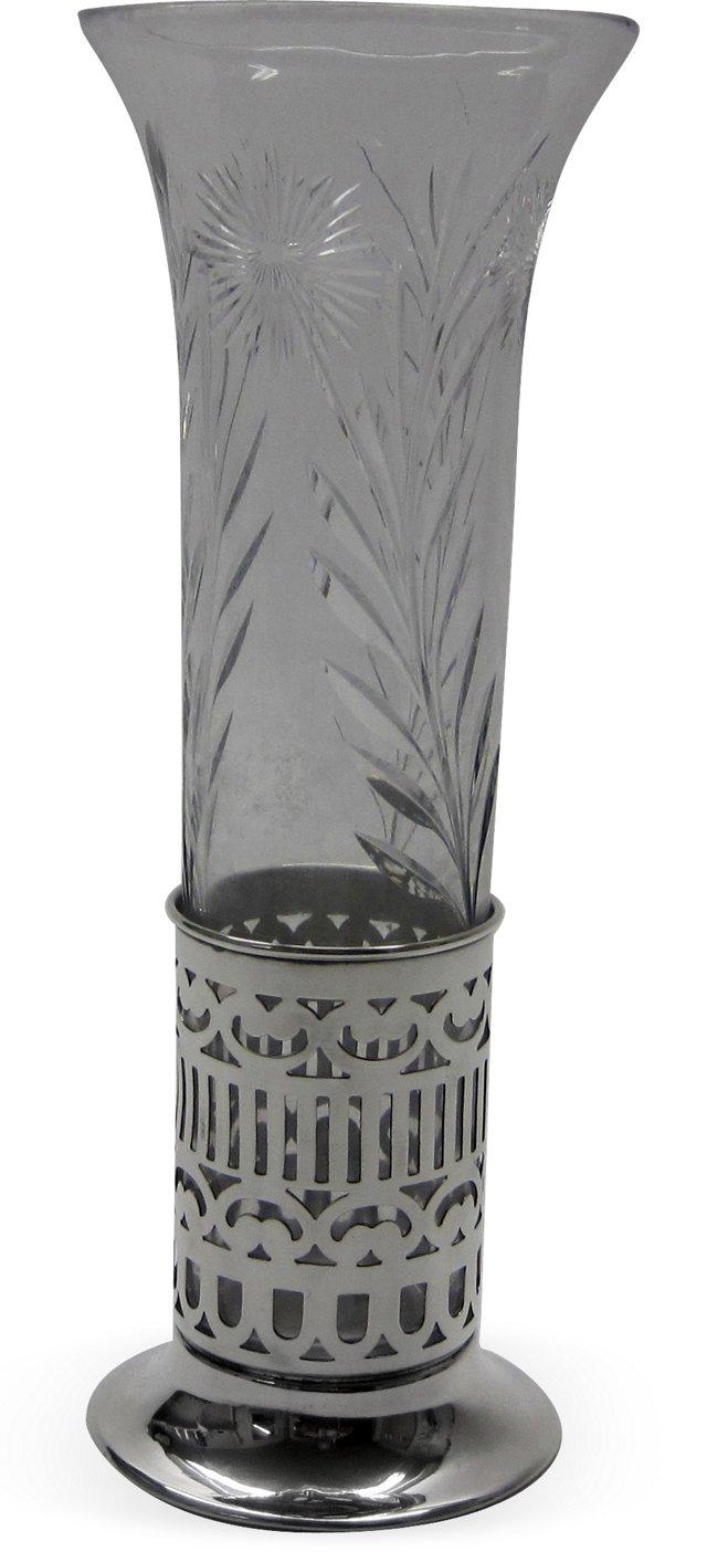Cut-Glass Vase w/ Sterling Holder