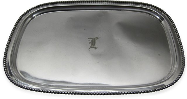 Beaded-Edge Silverplate Tea Tray