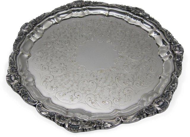 Vintage Silverplate Round Tray
