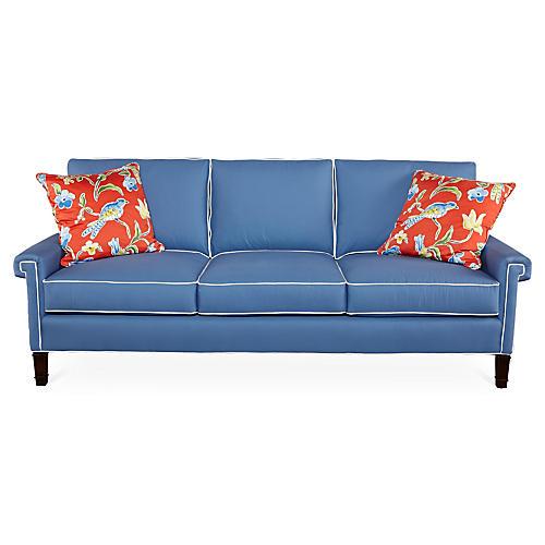 "Tuxedo Park 86"" Sofa, Cobalt/White"