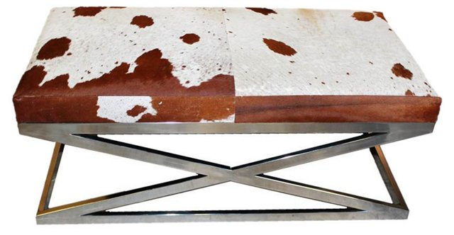 "Lauren 51"" Hide Bench, Brown/White"