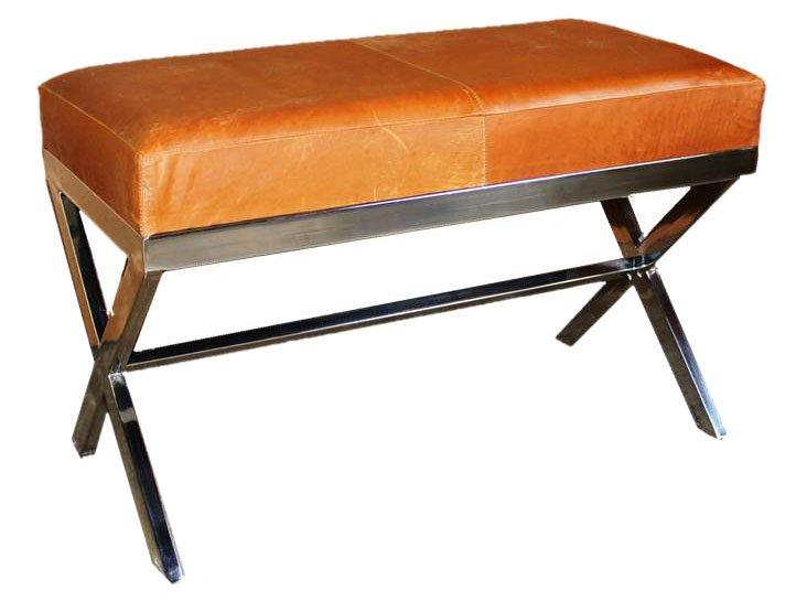 "Markum 32"" Leather Bench, Cognac"