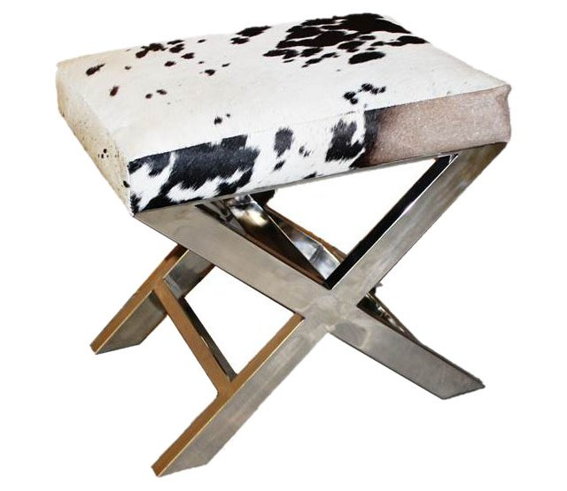 "Peter 23"" X-Bench, Black/White Hide"