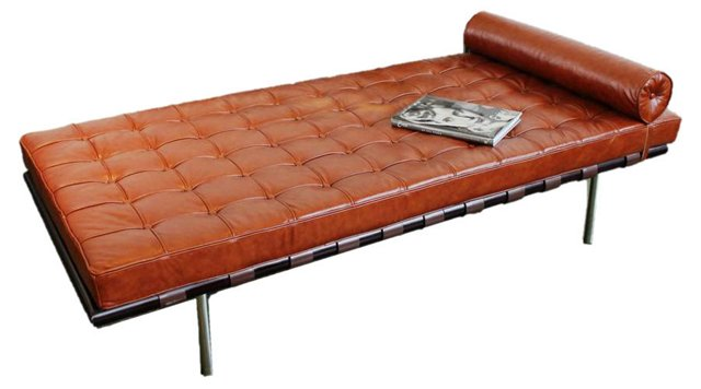 "Mulholland 67"" Leather Lounger, Brandy"