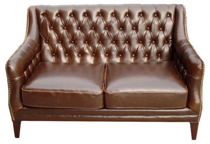 "Westmont 53"" Tufted Leather Sofa, Java"
