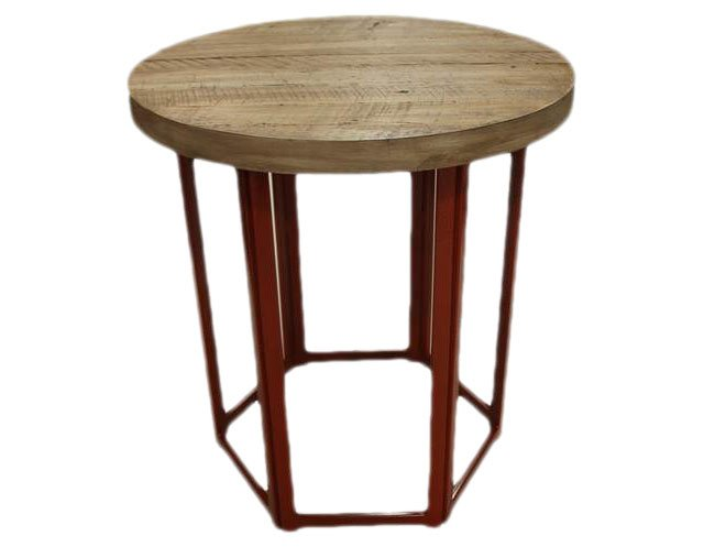 Rustic Round Side Table, Antiqued Coral