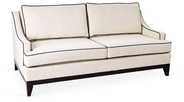 """Dallas 78"""" Sofa, Ivory/Navy"""