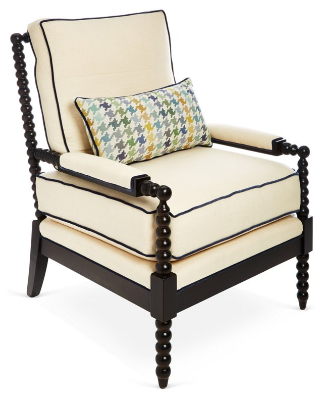 Gregg Lounge Chair, Ivory/Blue