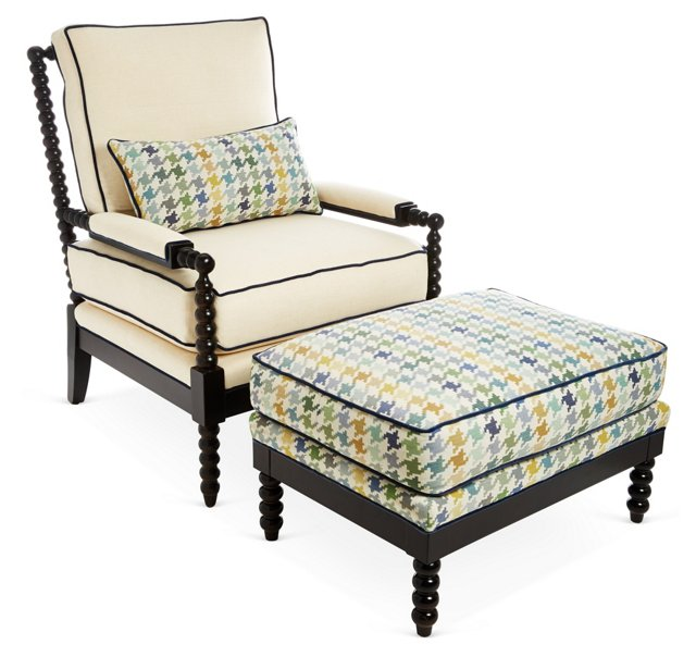 Gregg Chair & Ottoman, Blue Houndstooth