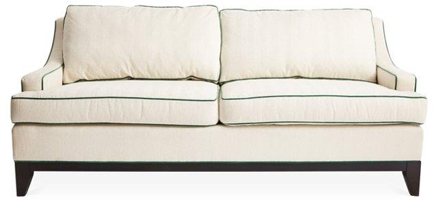 """Dallas 78"""" Sofa, Cream/Green"""