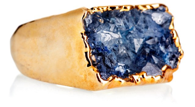 Gold-Plated Drusy Ring, Blue