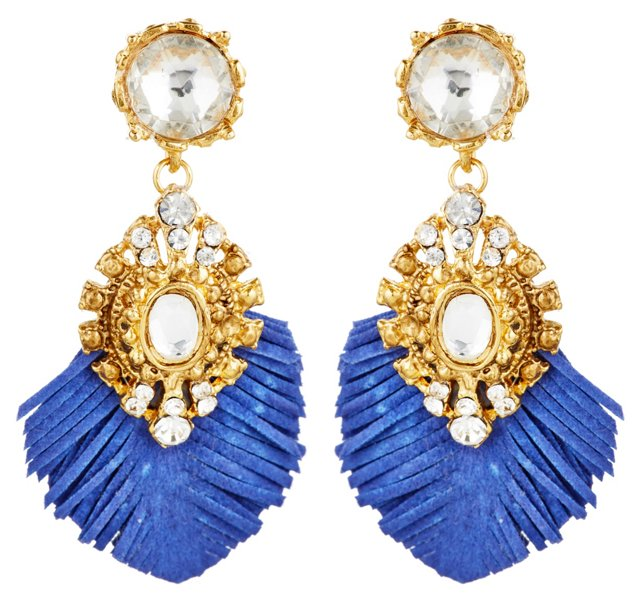 Baroque Fringe Earrings, Blue