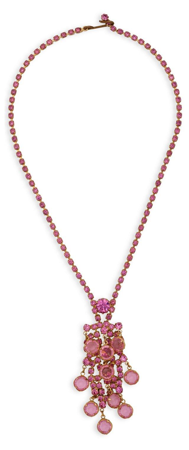 1950s Pink Rhinestone Necklace