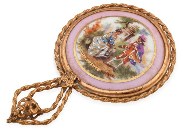 French Limoges Handheld Mirror