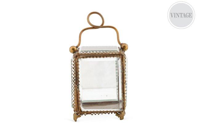 Antique Beveled Glass Jewelry Box