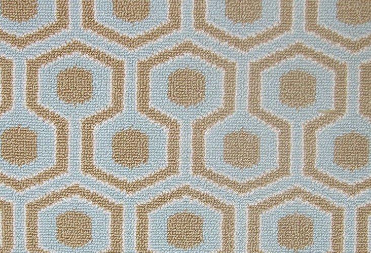 9'x12' Hexagon House II Wool Rug, Aqua