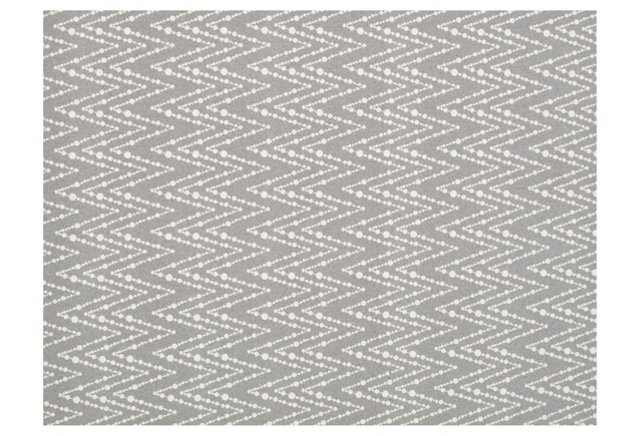 "2'6""x7' Bead Work Wool Rug, Gray"