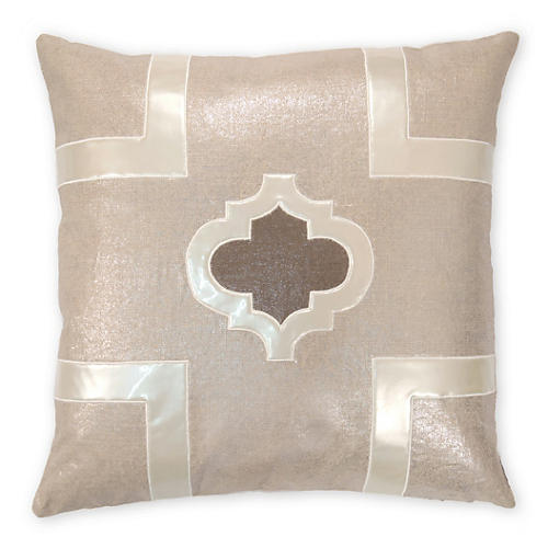 Griffin 22x22 Linen-Blend Pillow, Pearl