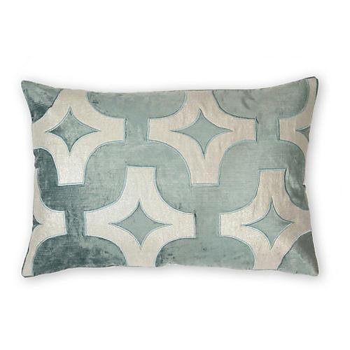 Holly 16x24 Linen-Blend Pillow, Ocean