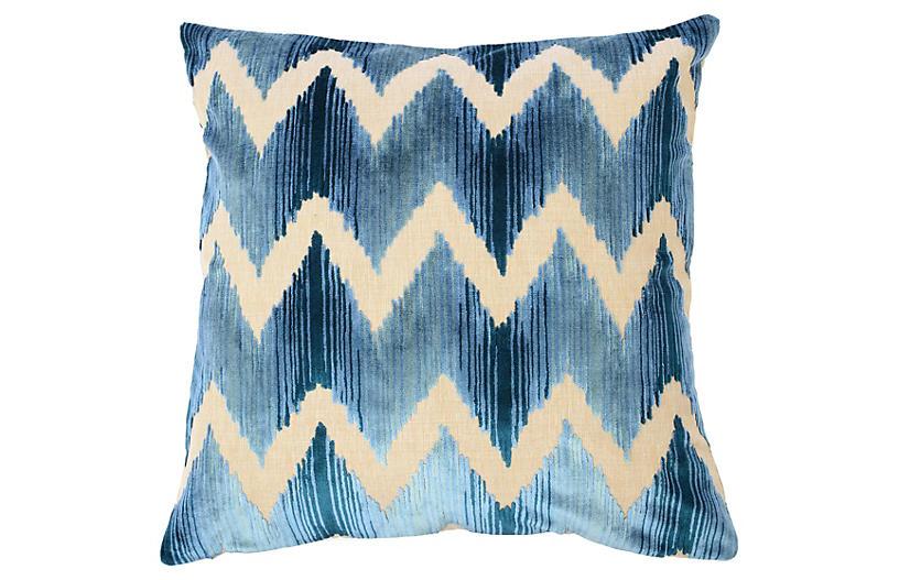 Mary 22x22 Pillow, Blue Velvet