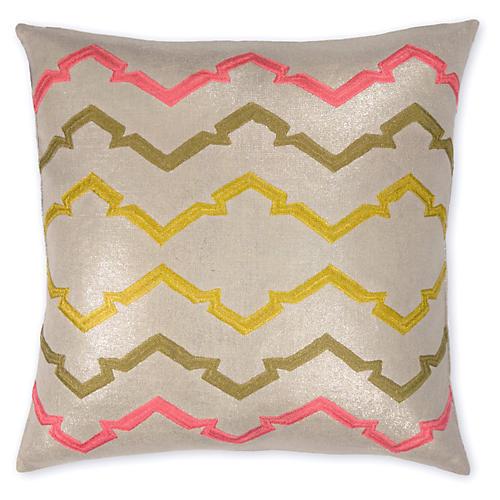 Jackie 22x22 Linen Pillow, Flax