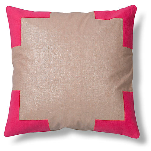 Tracy 24x24 Linen Pillow, Pink