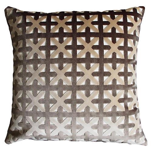 Casey 22x22 Velvet Pillow, Gray/Taupe