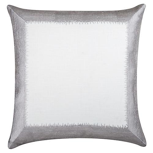 Ella 24x24 Cotton Pillow, Silver