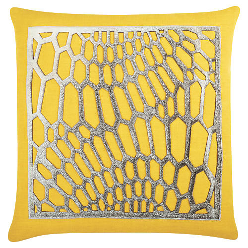 Emerson 22x22 Cotton Pillow, Yellow/Gray