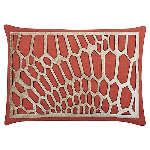 Harper 20x14 Cotton Pillow, Coral/Tan