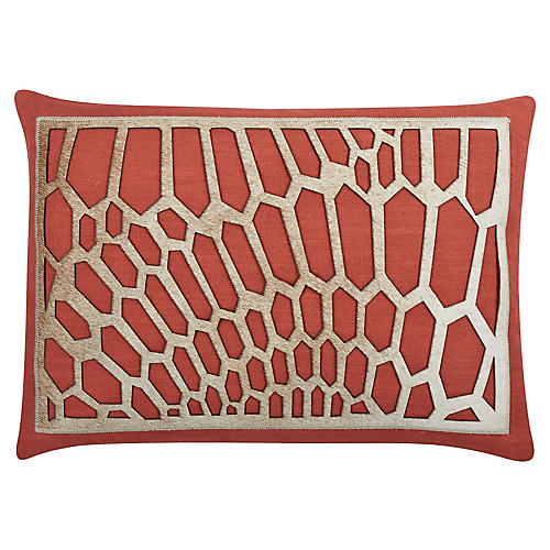 Harper 20x14 Cotton Pillow, Coral/Tan