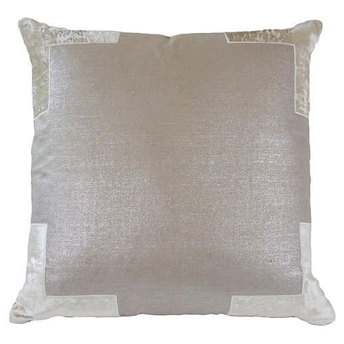Tracy 24x24 Cotton Pillow, Champagne